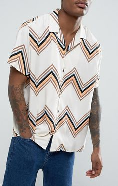 ASOS Oversized Viscose Shirt With Chevron Stripes With Revere Collar In White   from ASOS (men, style, fashion, clothing, shopping, recommendations, stylish, menswear, male, streetstyle, inspo, outfit, fall, winter, spring, summer, personal)