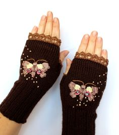 Hand Knitted Fingerless Gloves Ribbon by nbGlovesAndMittens Fingerless Gloves Knitted, Crochet Gloves, Knit Mittens, Crochet Wallet, Butterfly Fashion, How To Purl Knit, Ribbon Embroidery, Hand Warmers, Wool Felt