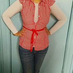 Cowgirl Red and white sleeveless plaid top Tops Button Down Shirts
