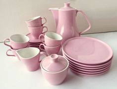 Melitta-Kaffeeservice-6-Personen-rosa-60er-Jahre-selten