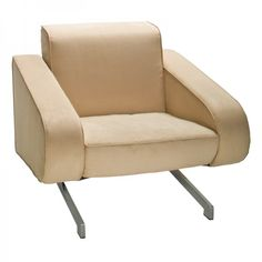 Astro Chair -- Aero-shaped beige club chair with chrome metal legs keeps your event modern and chic. | cortevents.com