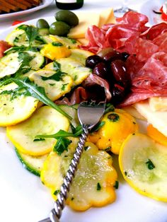 Patty Pan Squash Carpaccio for a Hot Summer Night - This is casual dining at it's best, just open a chilled bottle of wine, add some crusty bread then relax and enjoy! - Proud Italian Cook