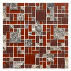 Merola Tile Tessera Versailles Bordeaux 11-3/4 in. x 11-3/4 in. Glass and Stone Mosaic Wall Tile