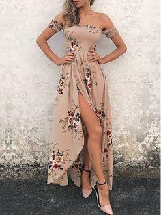 Shop Boho Dresses - Khaki Off Shoulder Floral-print Short Sleeve Beach Dress online. Discover unique designers fashion at JustFashionNow.com.