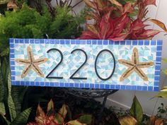 Hanging Address Sign / Mosaic House Number by GreenStreetMosaics