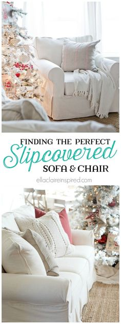 Beautiful The year-long search for the perfect slipcovered sofa and chair~ with gorgeous results! find all of the details here at ellaclaireinspire… The post The year-long search for the perfec . Living Room White, New Living Room, Living Room Furniture, Furniture Slipcovers, Slipcovers For Chairs, Pottery Barn Slipcover Sofa, Furniture Covers, Furniture Ideas, White Couch Cover