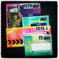Today's outgoing mail: ATC trades and a giveaway kit in painted/collaged envelopes.