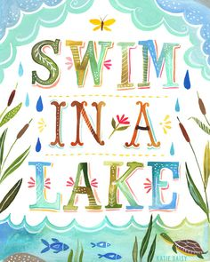 Swim in a Lake     vertical print by thewheatfield on Etsy, $18.00