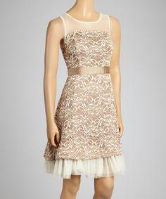 Look at this #zulilyfind! Beige Floral Embroidered A-Line Dress by Ryu #zulilyfinds