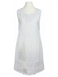 Damen Leinenkleid Häkelspitze, weiss von Diana bei www.meinkleidchen.de