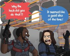 I'm excited for Falcon and the Winter Soldier 🙌 I think we're gonna see Sam improving his his leadership on the field and Bucky getting over his old habits from his assassin days. Marvel Fan Art, Marvel Comics Art, Marvel Jokes, Marvel Comic Universe, Avengers Memes, Marvel Funny, Marvel Cinematic Universe, Loki, Captain Marvel
