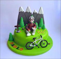28 Trendy ideas for mountain bike cake ideas Bicycle Cake, Bike Cakes, Dad Cake, 50th Cake, Birthday Cakes For Men, Mountain Bike Cake, Mountain Biking, Sport Cakes, Gateaux Cake