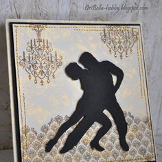 handmade card ... silhouette of tango dancers in black  on soft shades of taupe, blue and cream ... by OriBella
