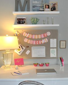 have a desk in the spare bedroom... or my bedroom. i like the simple shelves and corkboard