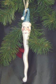 Ceramic Santa Ornament - Santacicle Teal. $15.00, via Etsy.
