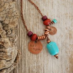 Sat Nam yoga mantra necklace - turquoise, copper, wood and clay beads - charm necklace. $34.00, via Etsy.