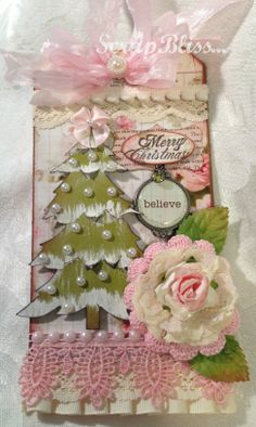 Christmas Tag; love the pearls on the tree