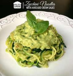Paleo Zucchini Noodles with Avocado Cream Sauce - SO DELICIOUS. This eliminates the high fructose corn syrup filled canned sauce and the highly refined pasta noodles. Eat this instead! It tastes better too. Veggie Noodles, Zucchini Noodles, Veggie Pasta, Whole Food Recipes, Cooking Recipes, Healthy Recipes, Avocado Cream Sauces, Avacado Sauce, Avocado Pasta