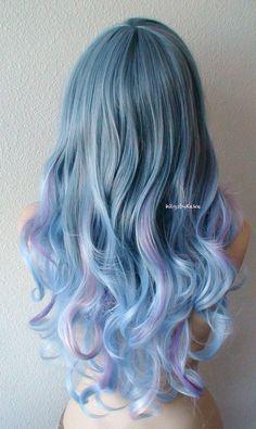 Blue /Lavender /Pink Ombre wig. Pastel color wig.  by kekeshop