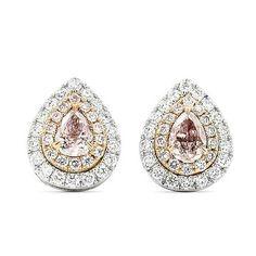 Gold Diamonds Earrings, Pink Diamond Earrings, #jewelry #earrings @EtsyMktgTool http://etsy.me/2fKuVC7