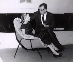 Eero Saarinen and his wife Aline, lounging on Womp Chair, designed in 1948