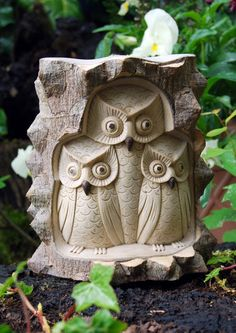 Wooden Owl Family for the garden