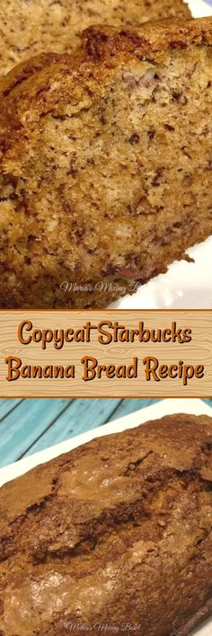 Copycat Starbucks Banana Bread Recipe - One of our favorite treats when we stop for coffee but between the high coffee prices and the price of a slice of this slice of yumminess, you could go broke. Easy Desserts, Delicious Desserts, Dessert Recipes, Yummy Food, Healthier Desserts, Yummy Recipes, Gluten Free Banana Bread, Banana Nut Bread, Starbucks Banana Bread