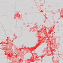 NLCD impervious MSN area / Landscape ecology Urban surfaces coded in red Image Processing, When I Grow Up, Cartography, Ecology, Diagram, Landscape, Drawings, Red, Scenery