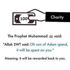 "Narrated Abu Huraira (ra)  Allah's Messenger (ﷺ) said, ""Allah said, 'O son of Adam! Spend, and I shall spend on you."" Reference : Sahih al-Bukhari 5352 In-book reference : Book 69, Hadith 2 USC-MSA web (English) reference : Vol. 7, Book 64, Hadith 264"