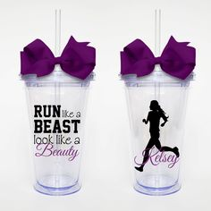 Run Like a Beast Workout Quote Acrylic Tumbler by SweetSipsters, $15.00