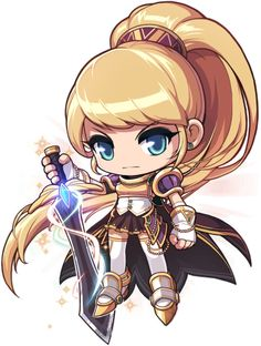 Dawn Warrior - MapleWiki - the free MapleStory database anyone can edit Character Drawing, Game Character, Character Design, Chibi Knight, Anime Chibi, Anime Art, Chibi Games, Funny Yugioh Cards, Chibi Characters