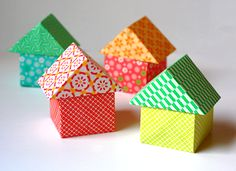 Origami Houses Tutorial here http://en.origami-club.com/nature/house1-3d/index.html
