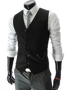 Chain Zipper Pocket 5 Button Slim Vest Waistcoat