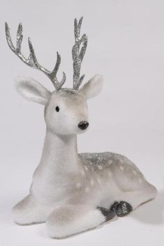Glitter Reindeer (lying down) | Southern Blossoms Winter Holiday Decor