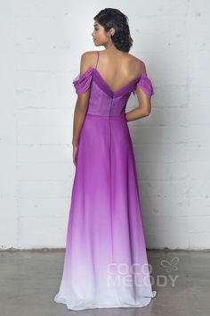 Elegant Sheath-Column Cowl Natural Floor Length Ombre Chiffon Sleeveless Zipper COZF17012#cocomelody #promdresses #party#dresses#