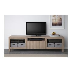 BESTÅ TV unit - Lappviken/Sindvik gray stained walnut eff clear glass, drawer runner, push-open, 180x40x48 cm - IKEA