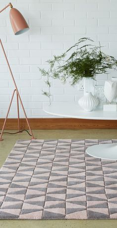 Pastel Area Rug With Geometric Design