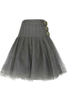 Junya Watanabe. Army green layered tulle,buckled tulle wrap skirt