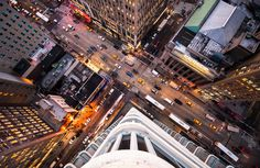 Photographer Navid Baraty captures street scenes from a bird's-eye view in his series Intersection. WARNING: May cause vertigo.