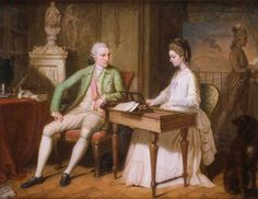 Sir William and the first Lady Hamilton in their villa in Naples (1770). David Allan (Scottish, 1744-1796). Oil on copper. Compton Verney. Sir William Hamilton, British Envoy in Naples from 1764, listens to the music played by his wife, Catherine Barlow, while surrounded by many of Sir William's favourite items: his violin, a classical bust of Zeus and a small scale copy of Corregio's Venus Disarming Cupid. The view of Vesuvius is a reference to Sir William's passion for vulcanology.