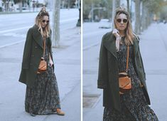 MILITARY COAT   MAXI DRESS  street style look with maxi dress and military coat by fashion blogger Monica Sors