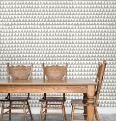 Combine taupe patterned wallpaper with traditional wooden furnishings for a rustic eco look with an modern edge #FieldNotes #WalterG #wallpaper #geometric #country #styling #interiors #design #timber #trend