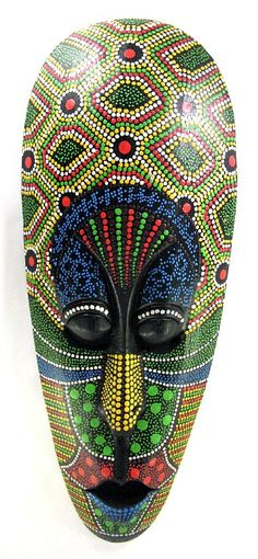 pretty mask from bali. Dots art reminiscent of Australian Indigenous artwork - ideas to use.