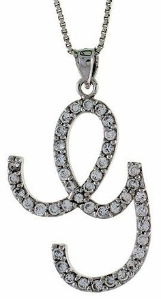 Sterling Silver Script Initial Letter G Alphabet Pendant with Cubic Zirconia Stones, 1 3/8 long Sabrina Silver. $47.94