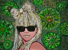 Lady Gaga portrait using Hello Kitty merch from a photoshoot, poker chips, sunglasses, rhinestones, recycled electronic parts and a dismembered Kermit the Frog doll. By Jason Mecier.