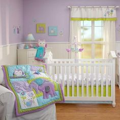 Purple, Blue & Green Jungle Safari Animals Baby Girl 4p Nursery Crib Bedding Set