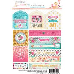Websters Pages - Beautiful Chic Collection - Cardstock Stickers - Tags and Prompts