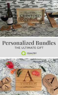 There's always a reason to celebrate! This Personalized Celebration Bundle includes 5 best-selling products, making it the perfect gift for weddings, housewarmings, birthdays and milestones of all kind. Get a Personalized Large Cork Keeper, Wine Bottle Balancer, Magnetic Bottle Opener and 2 Bamboo Coasters & all at a significant savings than if you bought these products individually. Find more custom gifts and bundles at qualtry.com