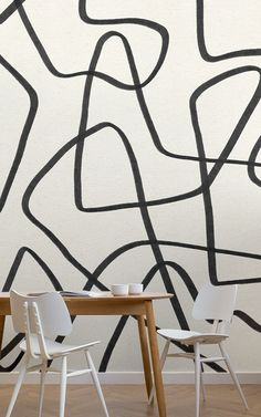 If you love abstract and intriguing design, look no further than the Black and Beige Cool Doodle Abstract Wallpaper Mural, a fun made to measure mural. Normal Wallpaper, How To Hang Wallpaper, Drawing Wallpaper, Cool Wallpaper, Doodle Techniques, Doodle Wall, Dining Room Wallpaper, Cool Doodles, Wall Patterns