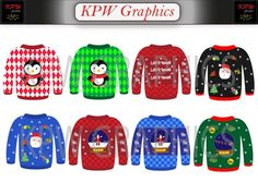 Colorful Ugly Christmas Sweater Clip-art Set in a PNG format. Personal & Small Commercial use Christmas Graphics, Png Format, School Projects, Ugly Christmas Sweater, Being Ugly, Clip Art, Invitations, This Or That Questions, Pattern